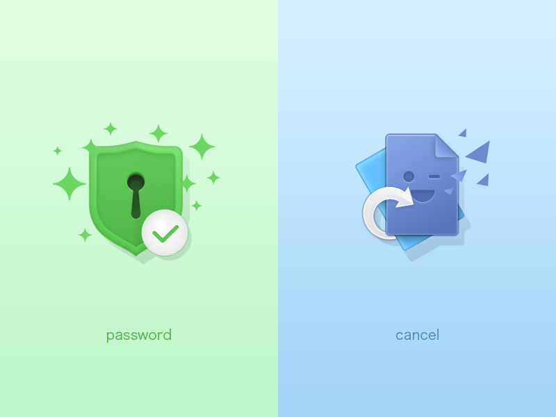 Feature Icon failure success cancel password blue green feature iphone icon android ios illustration