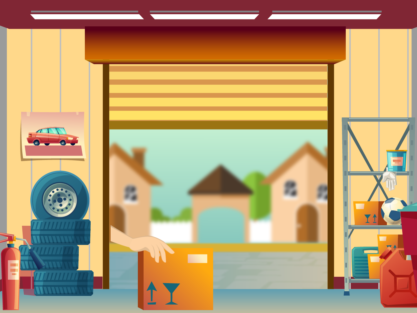 Garage Scene flat vector animation illustration