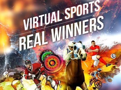 Virtual Sports Print advertisement typography branding illustration design