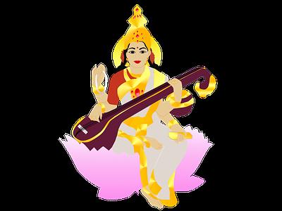 Goddess Saraswati vector art digital art digitalart art knowledge goddess digital illustration adobe illustrator illustration