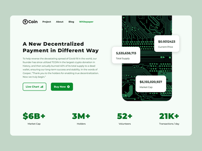 T-Coin - Cryptocurrency Website Exploration design ui web landing page