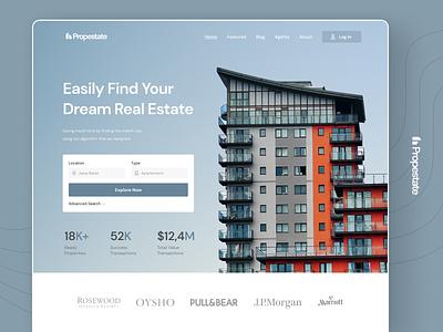 Propestate - Real Estate Website minimalist header real estate property web landing page ui design