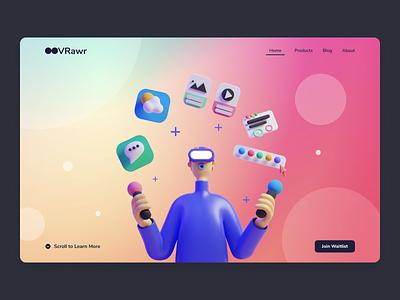 VRawr - VR Header Website responsive ux ui web header landing page design