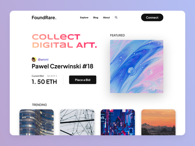FoundRare - NFT / Non-Fungible Token Website cryptocurrency nft header landing page web ui design