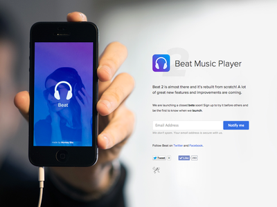 Beat 2 Coming Soon beat music player ios app iphone coming soon teaser minimal flat