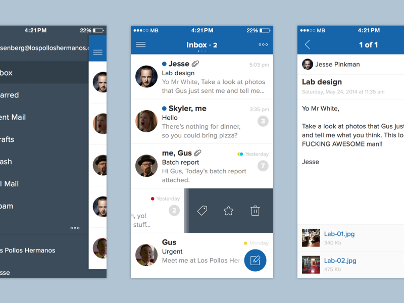 Sparrow Redesign Concept sparrow mail redesign concept app ios iphone ios7 flat inbox sketch freebie