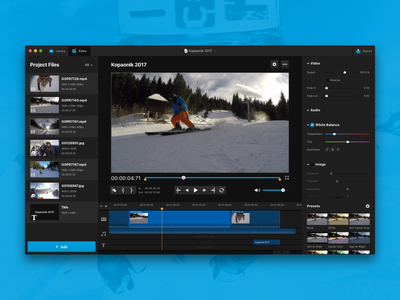 GoPro Studio Re-Design Concept ui dark library interface concept editor video studio macos app mac gopro