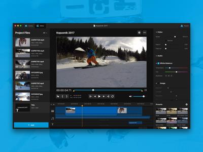 GoPro Studio Re-Design Concept ui dark library interface concept editor video studio macos app mac gopro