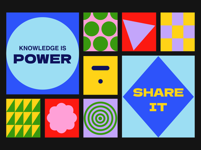 """The Thinkific """"Knowledge is power. Share it."""" challenge colors forms shapes illustration thinkific knowledge knowledge is power"""