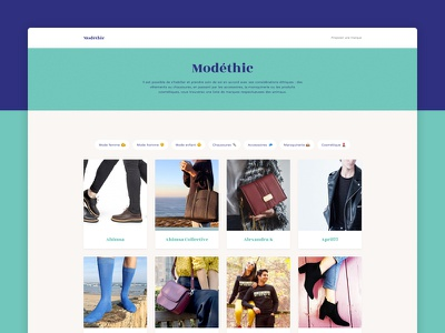 Modéthic - The vegan brands directory cards emoji filters vegan ethical fashion ethic sideproject website homepage