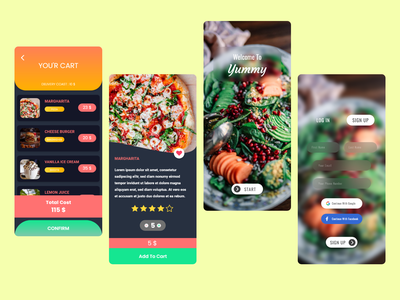 Yummy phone mobile delivery food ux ui app