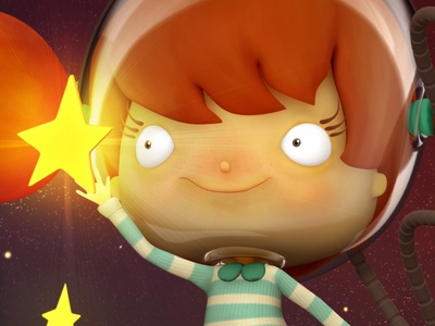 Penelope girl redhead space star 3d zbrush character design
