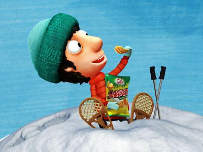 Zweifel Yeti guy antiheroe 3d character design zbrush snack snow winter