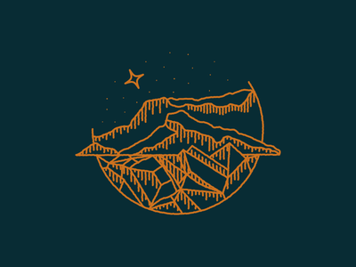 Økonomi illustration line linework minimalistic minimal minimalism illustrate coin mountain nature stars moon