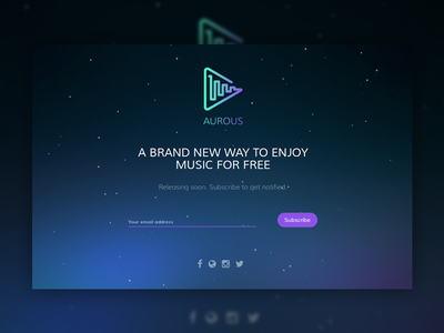 Aurous Newsletter Page subscribe subscription email gradient galaxy app music page landing newsletter aurous