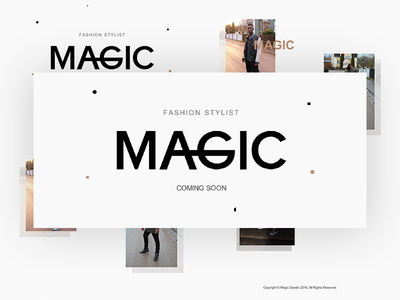 Magic Swedin - Coming Soon Page & Logo logo page splash clothing clothes patterns shapes minimal coming soon stylist fashion live
