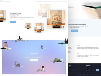 Aurello - Splashback glass store landing page site web gradient minimal shop ecommerce store aurello