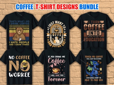 Coffee T-Shirt Design Bundle vector art vector illustration illustration merch by amazon t shirt design vector t shirt design ideas t shirt designer logo t shirt design coffee lover shirt
