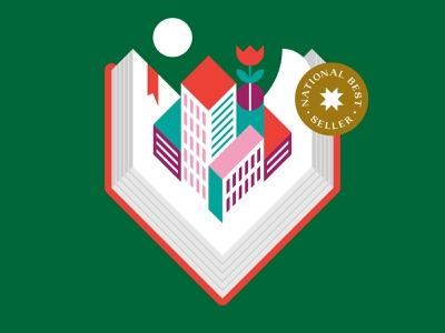 City Book typography patch star color logo icon badge flower illustration buildings town book