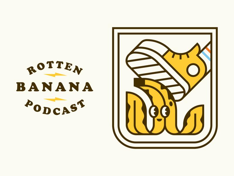 Bananas illustration lightning podcast character branding lockup typography patch logo icon badge line shoe banana