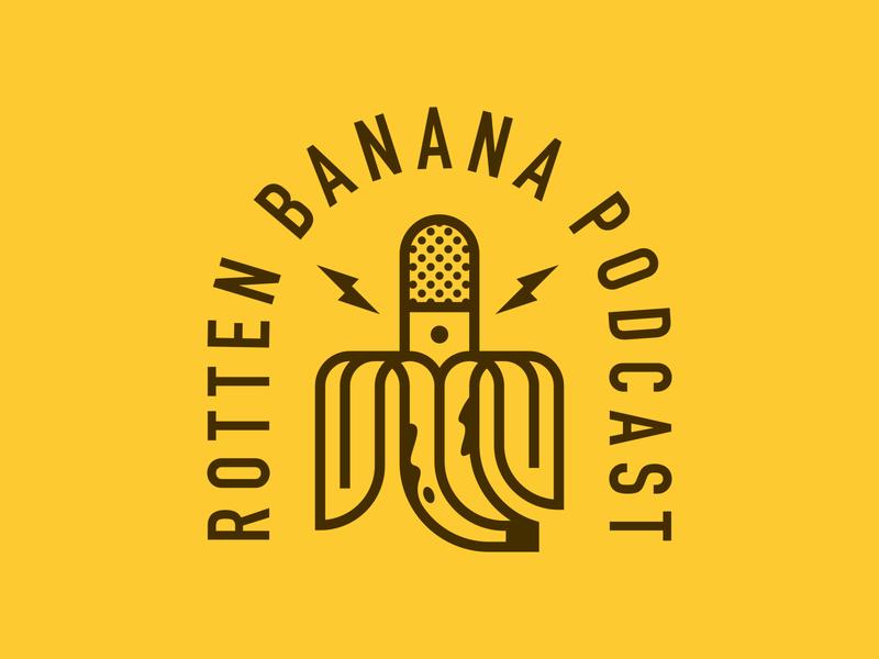 Bananas 2 branding icon line lightning thunder lockup typography badge patch logo podcast microphone banana