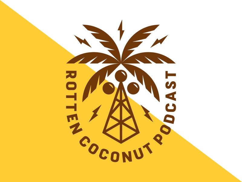 Rotten Coconut Podcast typography tropical branding lightning tree icon logo patch badge coconut podcast