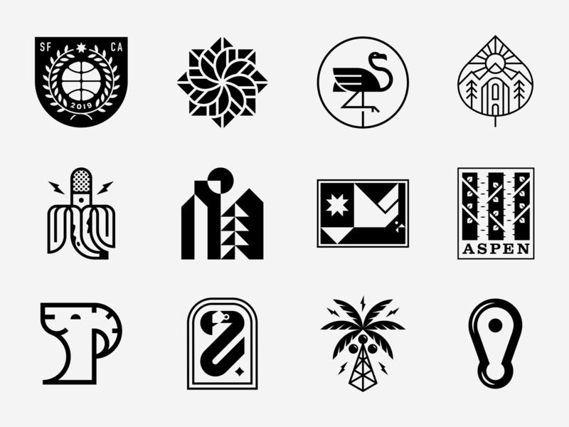 LogoLounge 12 trees bird city banana flamingo basketball logos patch badge icon logo