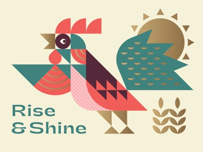 Rooster branding logo color shapes bird animal icon typography texture illistration sun wheat farm rooster