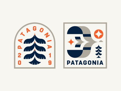Patagonia Badges typography branding logo icon patch badge bird tree outdoors nature patagonia