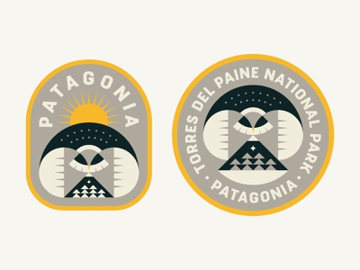 Patagonia Badges 2 animal icon trees branding badge patch logo mountains bird outdoors nature patagonia