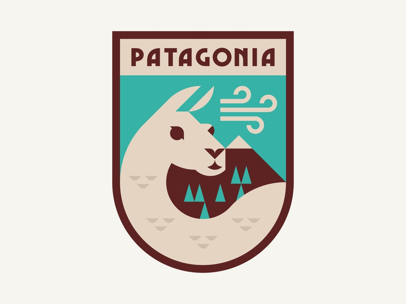 Patagonia Badge 3 shapes color outdoors wind illustration branding trees mountain nature llama guanaco badge patch logo