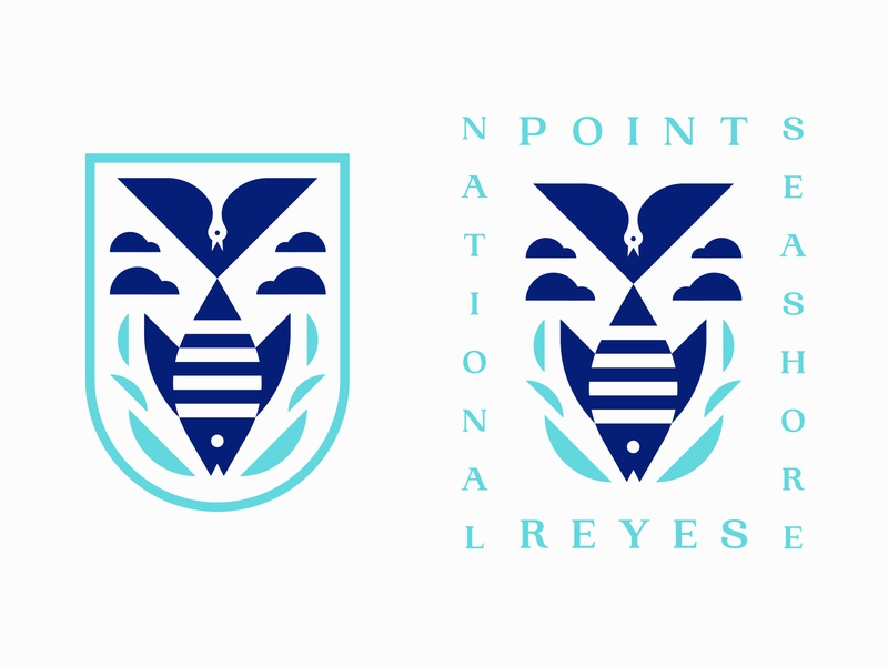 Point Reyes typography california point reyes ocean negative space bird fish icon logo badge patch