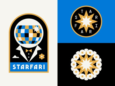 Disco Astronaut icon typography branding logo patch badge explosion star space astronaut music dj disco