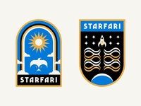 Space Badges stars clouds color icon rainbow bird sun planet spaceship space branding logo patch badge