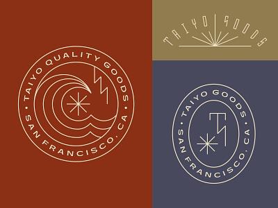 Taiyo Goods color icon lightning wave sun typography branding monogram patch badge logo