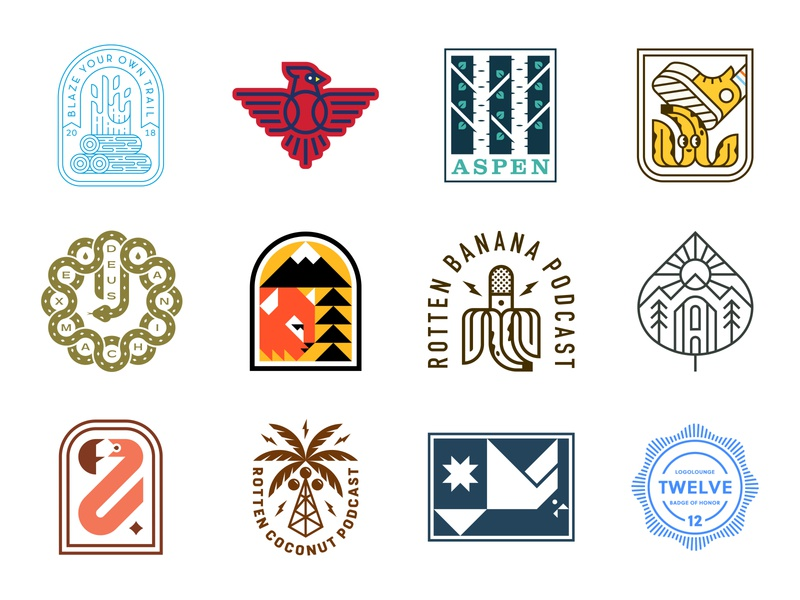 LogoLounge 12 Book branding icon bird flamingo snake coconut banana fire cardinal tree patch logolounge badge logo