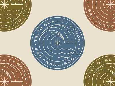 Taiyo Goods 2 california san francisco sun star branding color patch nature line logo badge wave