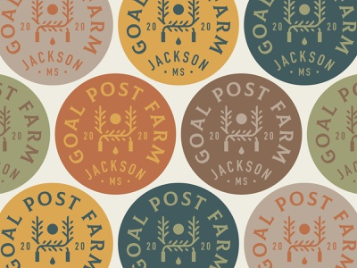 Goal Post Farm Badges icon typography color leaves sun tree rugby goal post mississippi lockup patch farm badge branding logo