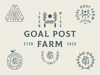 Goal Post Farm Elements letters system icon farm mississippi monogram typography sun tree fruit patch lockup badge branding logo