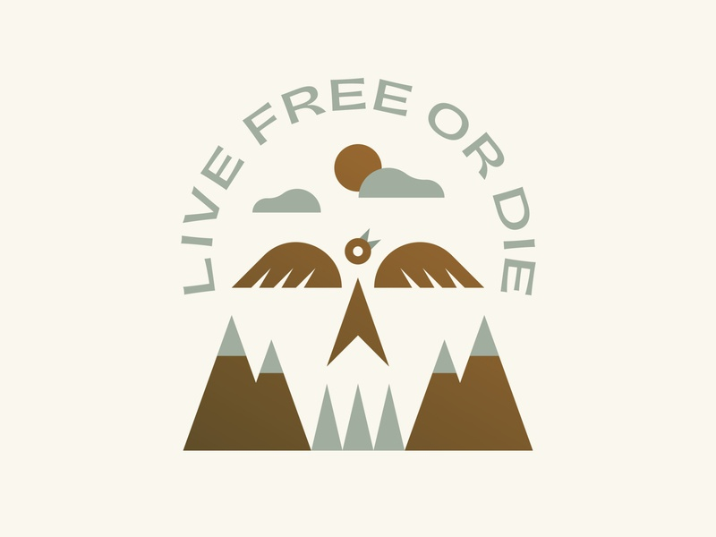Live Free or Die typography sun lockup icon logo patch badge outdoors nature mountains trees bird skull
