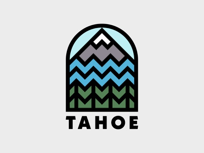Lake Tahoe Badge line nature branding california lake tahoe lake trees forest mountains icon patch logo badge