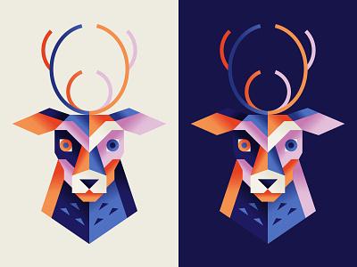 Geo Deer gradient texture branding geometry icon logo animal elk deer color shapes