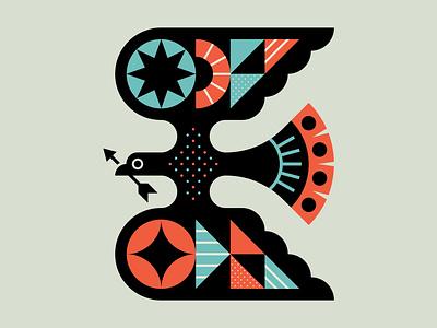 War Bird sun icon logo wings animal nature illustration geometry star color shapes arrow bird