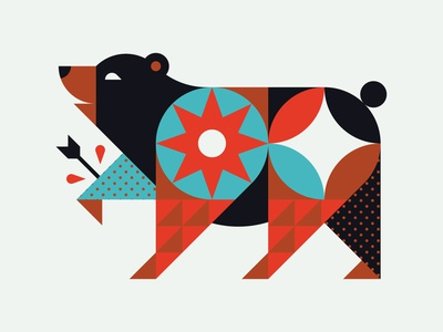 War Bear nature texture arrow star sun geomretry color shapes icon illustration animal bear
