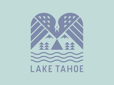 Lake Tahoe Badge california illustration icon lockup lake tahoe forest trees mountains nature negative space bird branding patch logo badge