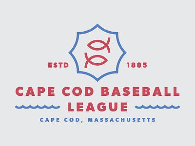 Cape Cod Baseball Lockup water fish sports massachusetts badge logo lockup baseball cape cod