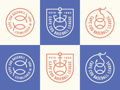 Cape Cod Baseball League Badges branding icons fishing hook anchor fish nautical badge logo sports cape cod baseball