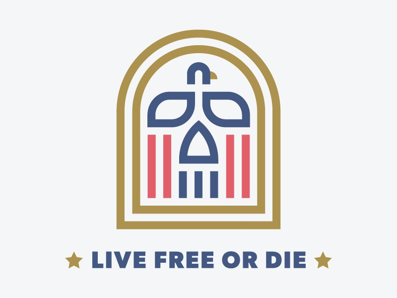 Live Free or Die freedom skull simple line icon symbol usa america eagle bird logo badge