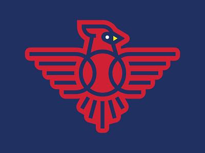 Redbirds cardinal line illustration sports bird icon logo baseball cardinals