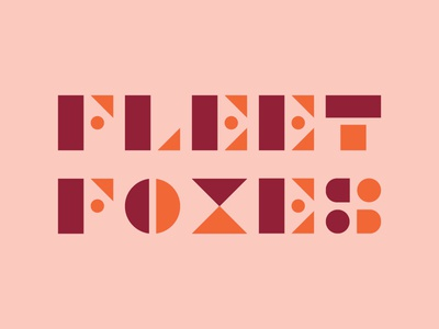 Fleet Foxes Typography logo color music gig poster band letters fox fleet foxes typography